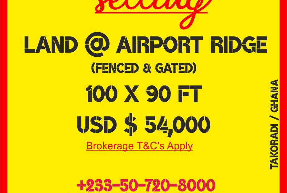 Plot of land located at Airport ridge in Takoradi is up for sale.